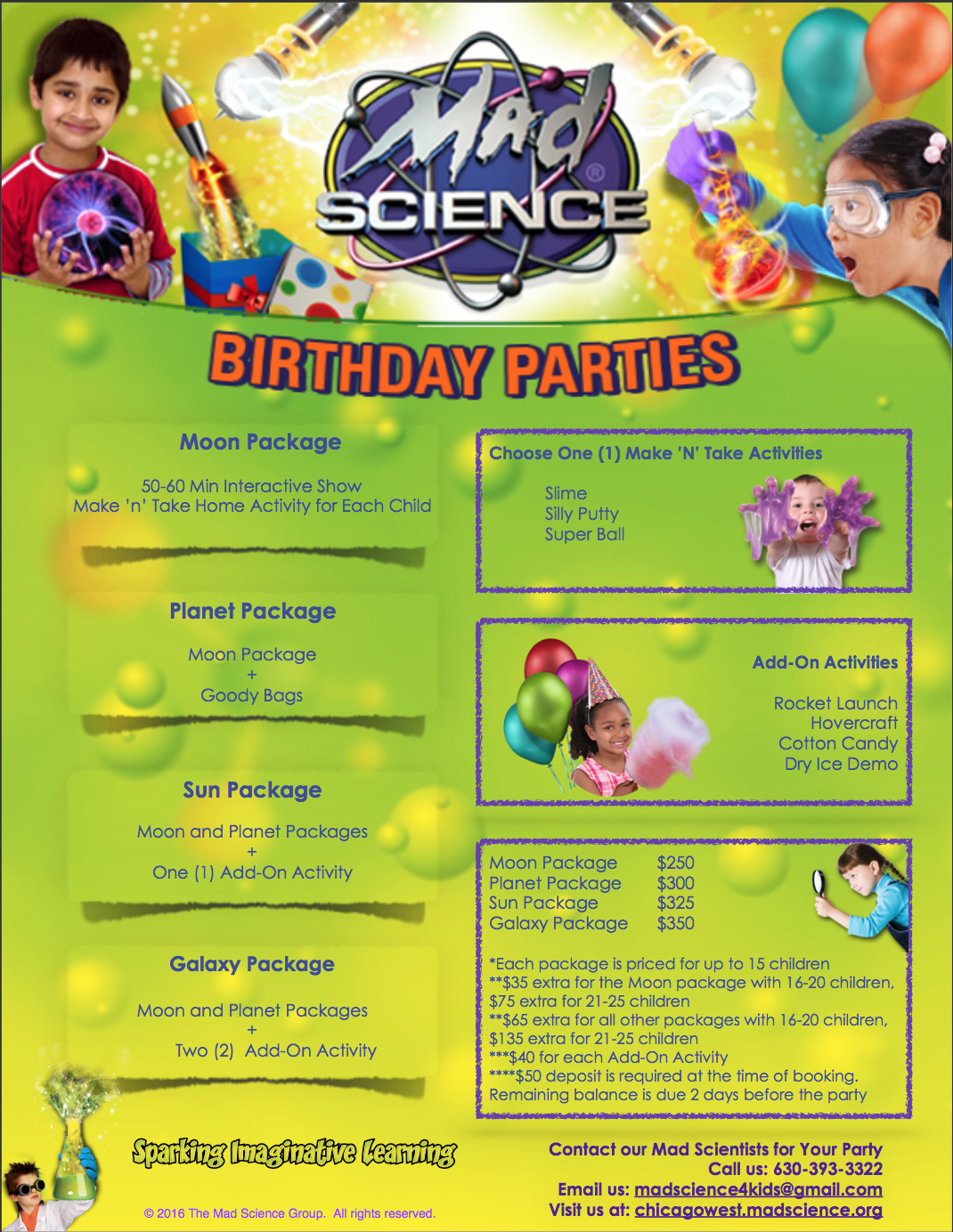 birthday party pricing